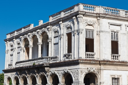 falling apart: Beautiful baroque building, abandoned and falling apart in Havana, Cuba Stock Photo
