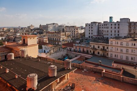 damaged roof: Hotel Ambos Mundos - view from the rooftop terrace Stock Photo