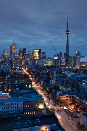 toronto: Downtown Toronto skyline at night Stock Photo