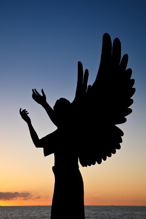 Silhouette of Angel of Hope against sunset sky, Puerto Vallarta, Mexico Stock Photo - 18903070