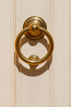 Decorative maltese brass door handle photo