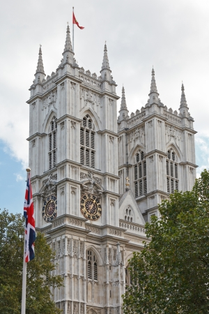 Westminster Abbey western facade towers, London, UK photo