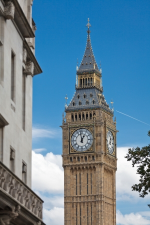 The Clock Tower that houses Big Ben bell,  Westminster Palace (Houses of Parliament), London, UK photo