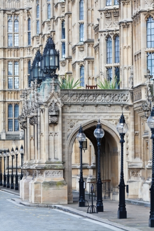 the palace of westminster: The Palace of Westminster (Houses of Parliament) facade detail, London, UK Stock Photo