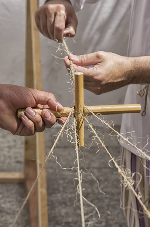 artisans working with strings and baroque cane or medieval market