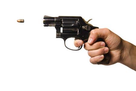 isolated shot of a man firing a gun photo