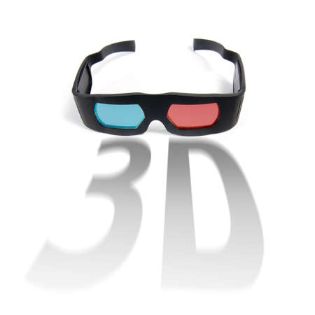 photo of modern 3D glasses isolated on white Stock Photo