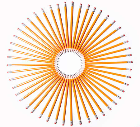 all pencils pointing to the center of the circle photo