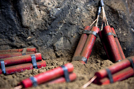 detonating: detonating fuse and dynamite on mine
