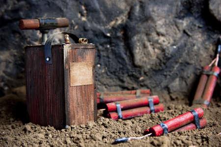detonerend fuse en dynamite op de mijne