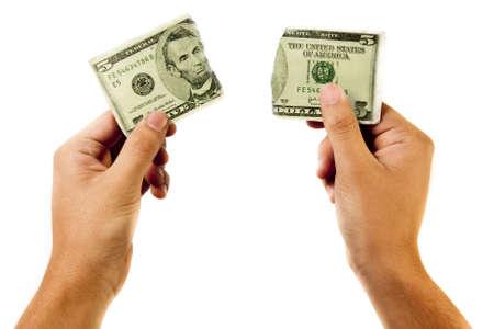 resourceful: a broken 5 dollar bill Stock Photo