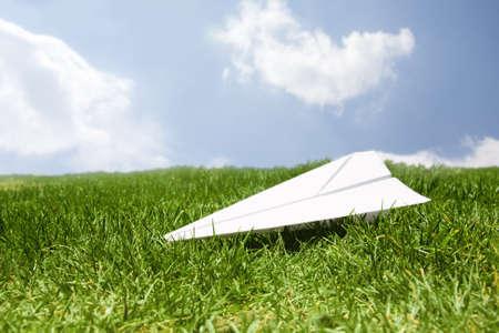 recieve: concept of paper plane landing safe
