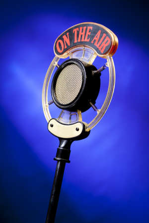 vocals: radio microphone on blue background