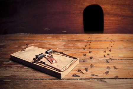 mousetrap: trappola per topi attivato sul pavimento e ratto sentiero