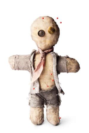 zaken man voodoo-pop met naalden op wit