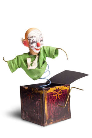 scary Jack-in-the-box toy isolated on a white background