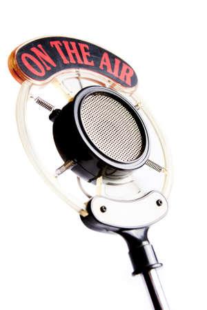 retro microphone isolated on white  版權商用圖片