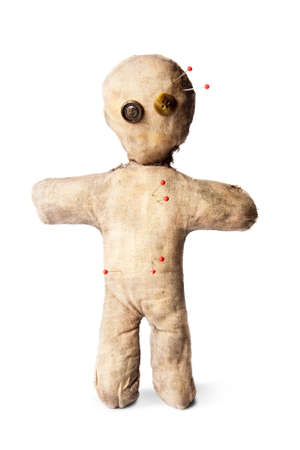 curse: photo of creepy voodoo doll isolated on white