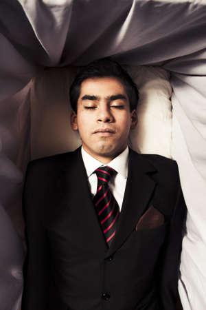 casket: dead man inside coffin Stock Photo