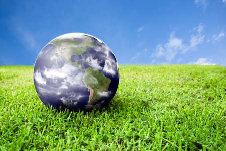 pollution free: photo of earth in grass ideal for background Stock Photo