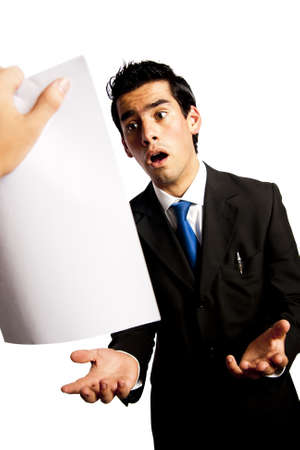 angry boss: young businessman is getting fired by his boss Stock Photo