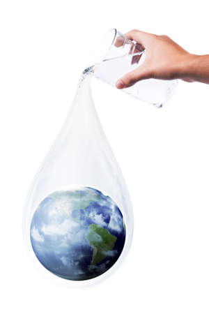 safe water: hand with glass dropping earth like drop