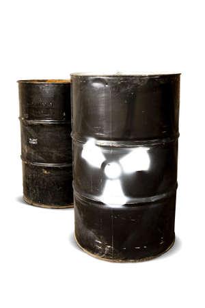 hazardous waste: hazardous drum barrels isolated on white Stock Photo