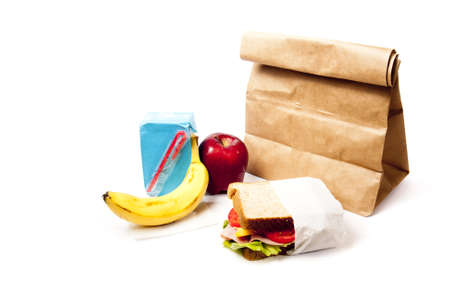 brown paper bags: delicious and healthy school lunch with paper bag Stock Photo