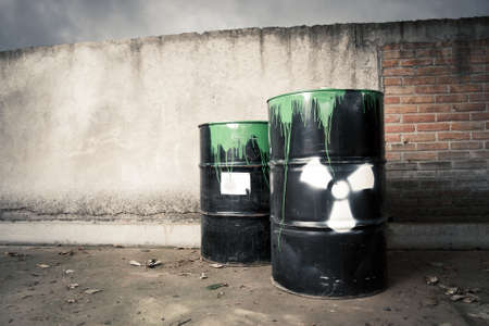 toxic drum barrel spilled it hazardous content Stock Photo - 9435734