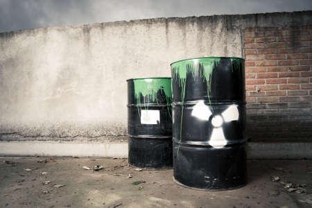 hazardous waste: toxic drum barrel spilled it hazardous content Stock Photo