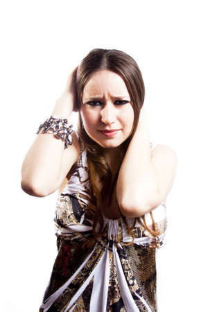 humiliation: humiliated woman isolated on white