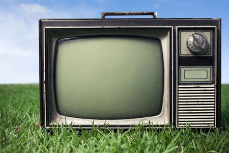 retro tv on grass photo