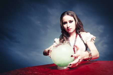 fortune teller: fortuneteller with crystal ball Stock Photo