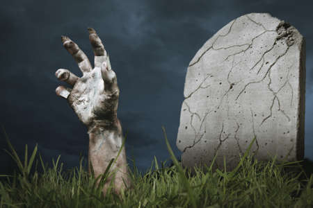 terrific: zombie hand coming out of his grave
