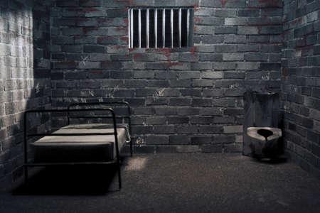 prison cell: cellule de prison sombre la nuit