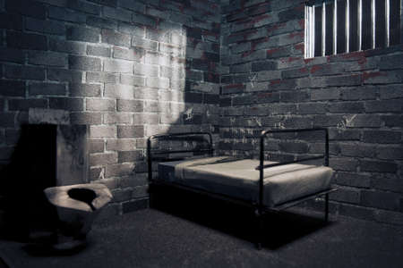 dark prison cell at night photo