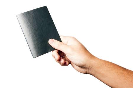 grasp: hand holding a green passport Stock Photo