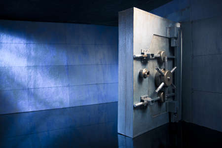 vaulted door: bank vault at night Stock Photo