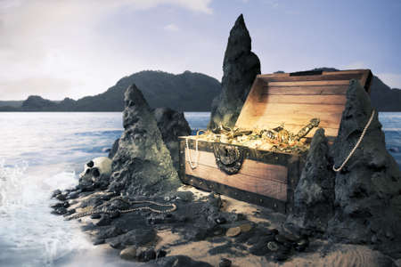 barco pirata: foto de cofre del tesoro abierto con brillante oro