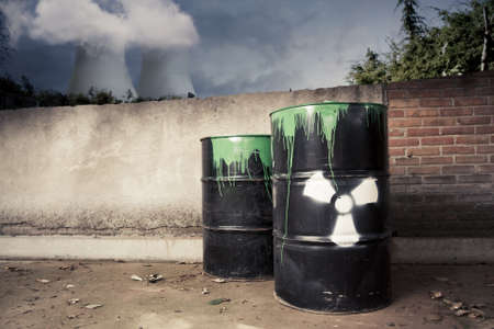 toxic drum barrel outside nuclear plant Stock Photo - 12359951