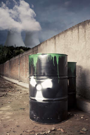 toxic drum barrel outside nuclear plant Stock Photo - 12360008