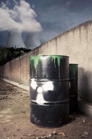 hazardous waste: toxic drum barrel outside nuclear plant