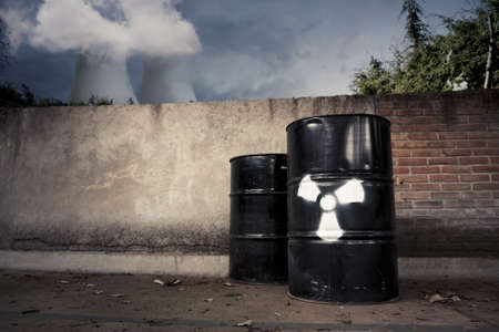 toxic drum barrel outside nuclear plant Stock Photo - 12359996