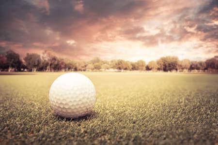 Golf ball lying on green field at sunset photo