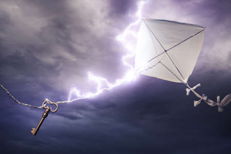 flying a kite: Benjamins Franklin kite in a dangerous electrical storm