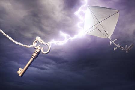 Benjamin Franklin cometa en una tormenta eléctrica peligrosa Foto de archivo
