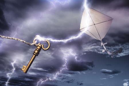 Benjamin Franklin cerf-volant dans un orage électrique dangereux