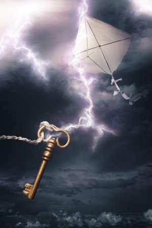 experimento: Benjamin Franklin cometa en una tormenta el�ctrica peligrosa Foto de archivo
