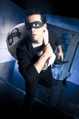 thief running out of a bank vault, low-key photo photo
