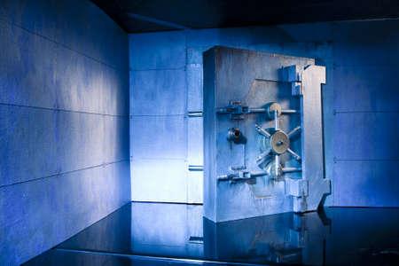 vaulted door: bank vault at night Stock Photo